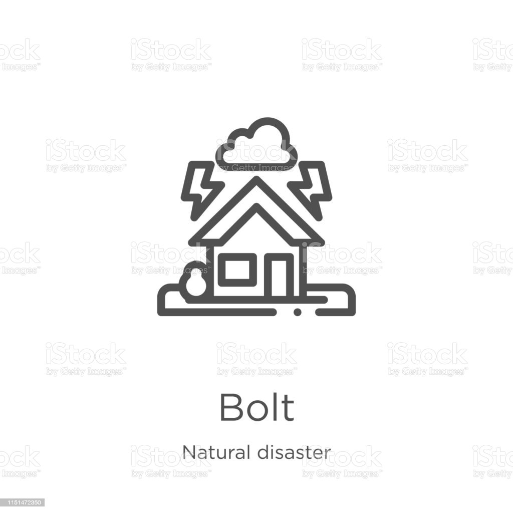 Bolt Icon Vector From Natural Disaster Collection Thin Line Bolt Outline Icon Vector Illustration Outline Thin Line Bolt Icon For Website Design And Mobile App Development Stock Illustration Download Image Now