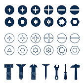 Bolts and screws heads set. Bolt and screw, nut top view, tools vector illustration