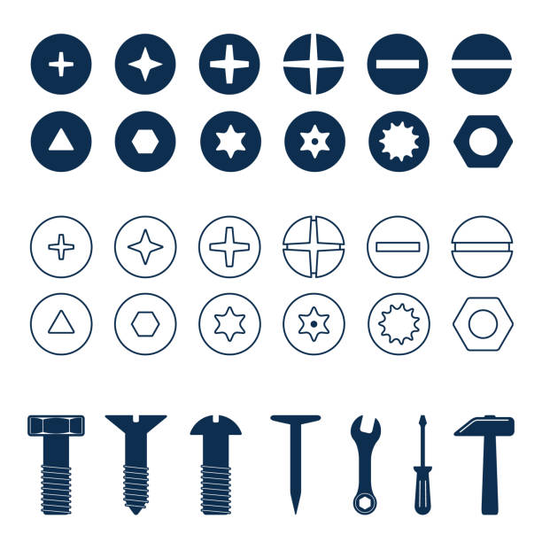 bolts and screws heads set. bolt and screw, nut top view, tools vector illustration - nuts stock illustrations