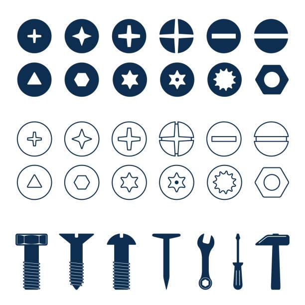 civata ve vidalar kafaları küme. civata ve vida, somun üstten görünüm, araçlar illüstrasyon vektör - nuts stock illustrations