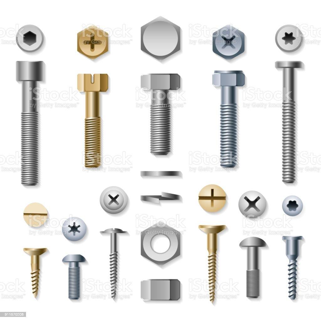 Bolts and screws - illustrazione arte vettoriale