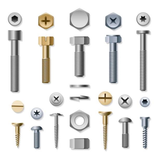 bolts and screws - nuts stock illustrations