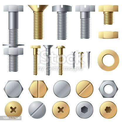 Bolts and screws. Washer nut hardware rivet screw and bolt. Chrome fasteners isolated vector illustrations set
