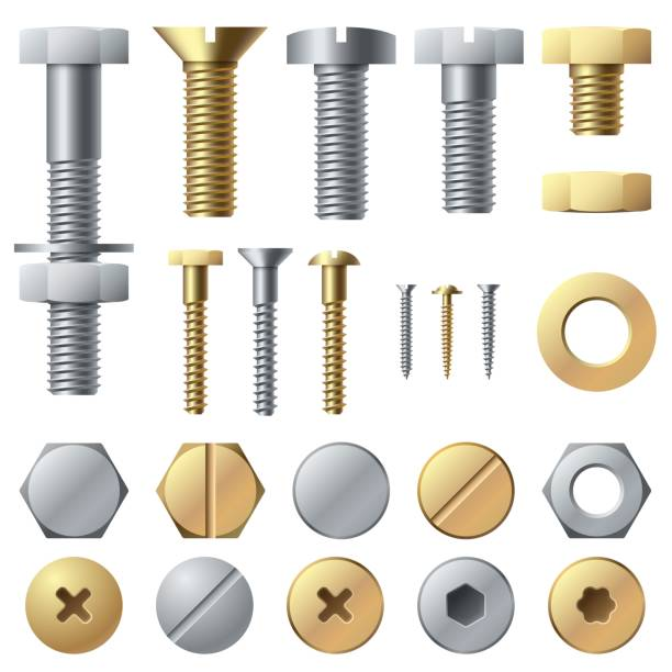 Bolts and screws. Washer nut hardware rivet screw and bolt. Chrome fasteners isolated vector set Bolts and screws. Washer nut hardware rivet screw and bolt. Chrome fasteners isolated vector illustrations set nail work tool stock illustrations