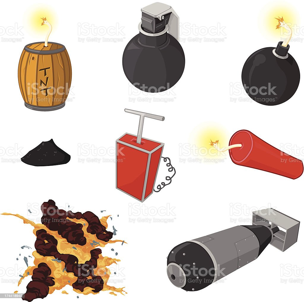 Bomb and Explosion Icon Set vector art illustration