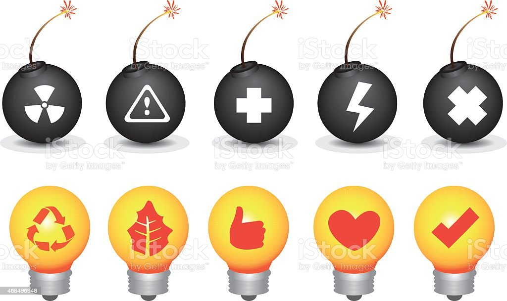 Bomb and Light Bulb Symbols Vector Icon Set vector art illustration