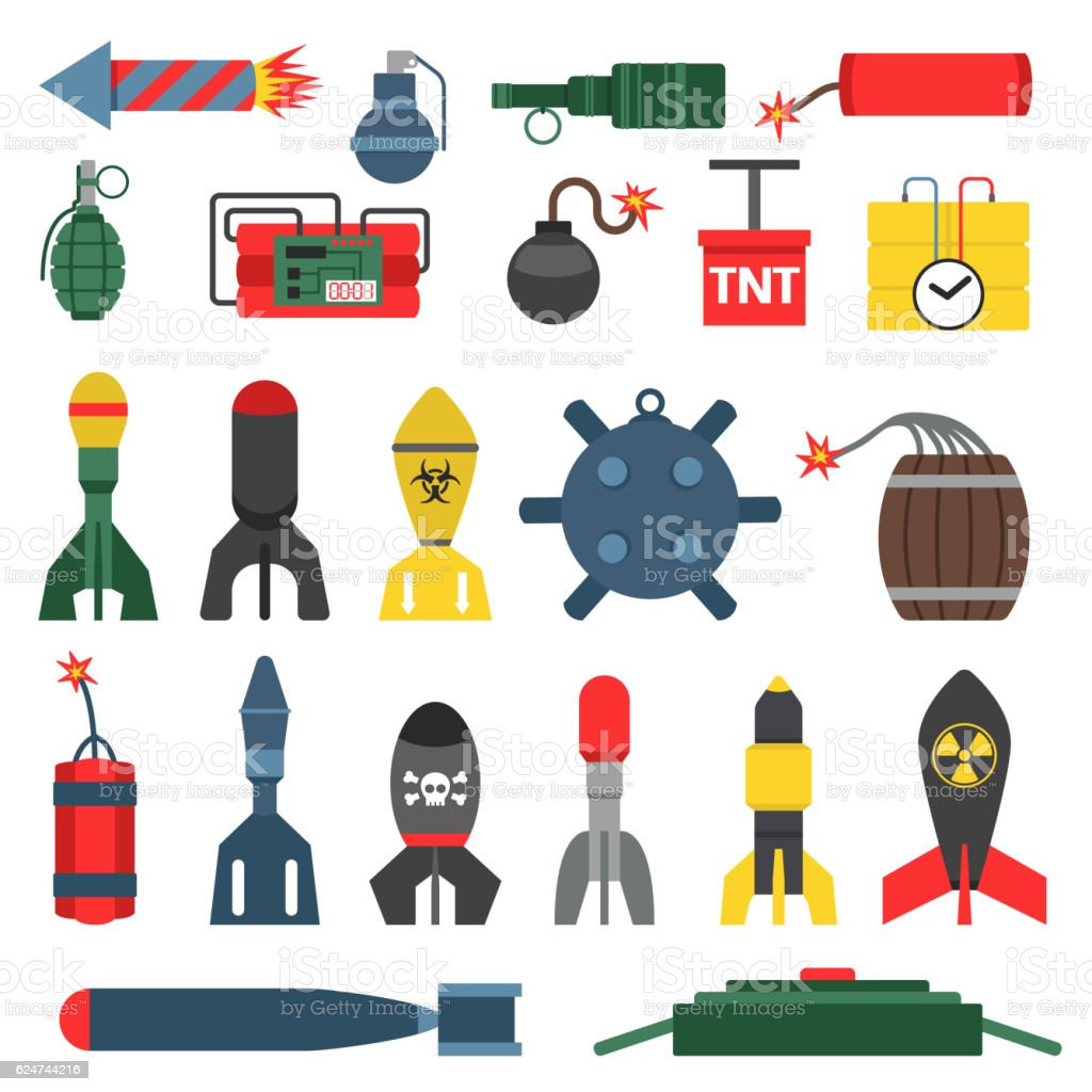 Bomb and rockets vector set. vector art illustration