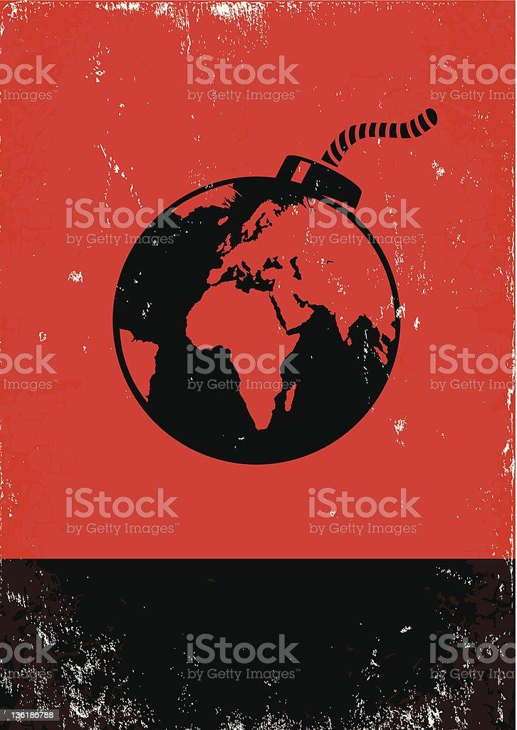 bomb and the globe vector art illustration