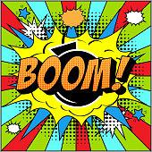 Bomb Boom Comic Text on Explosion Speech Bubble in Pop Art Style