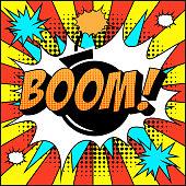 Bomb Boom Comic Text on Explosion Speech Bubble in Pop Art Style.