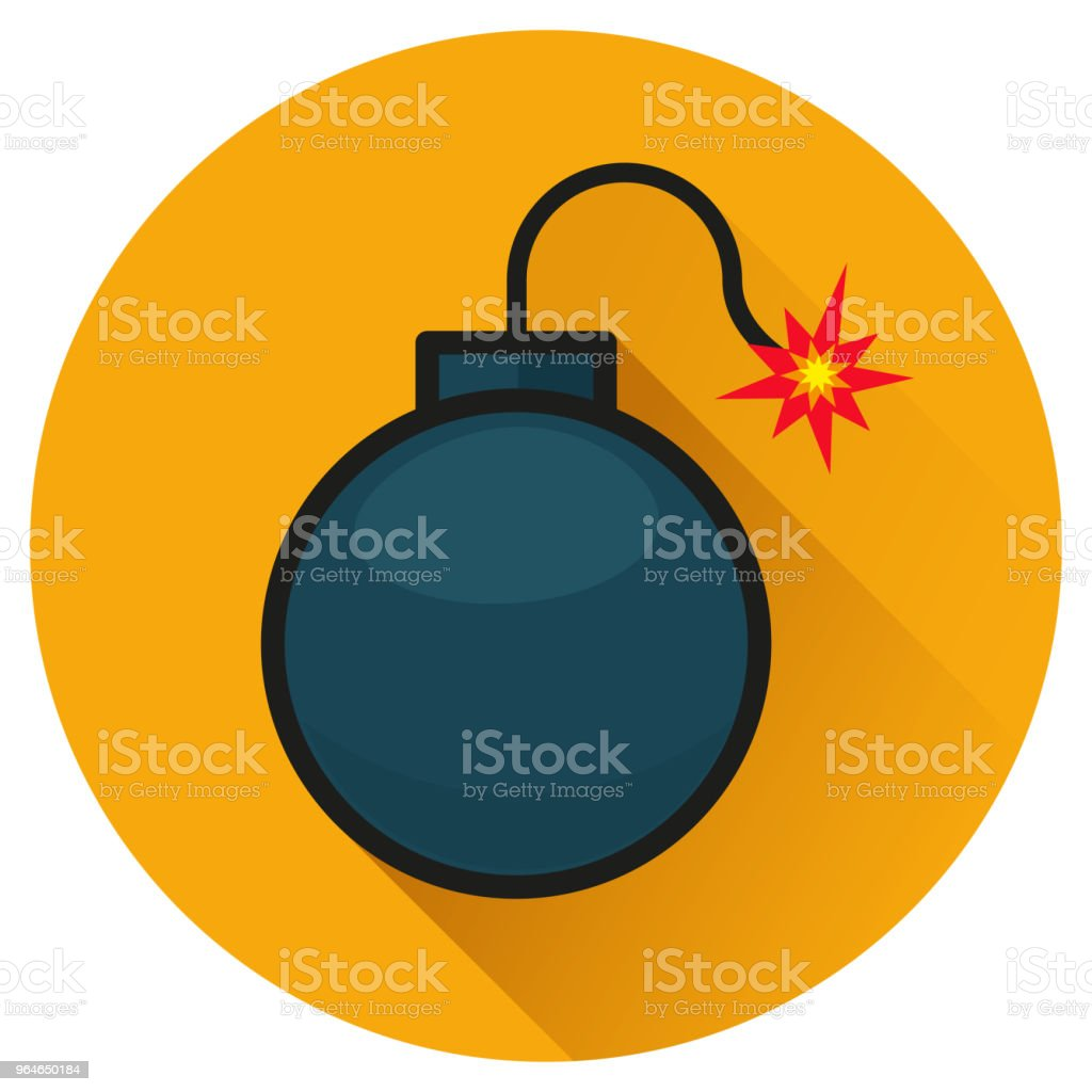 bomb circle orange flat icon royalty-free bomb circle orange flat icon stock vector art & more images of aggression