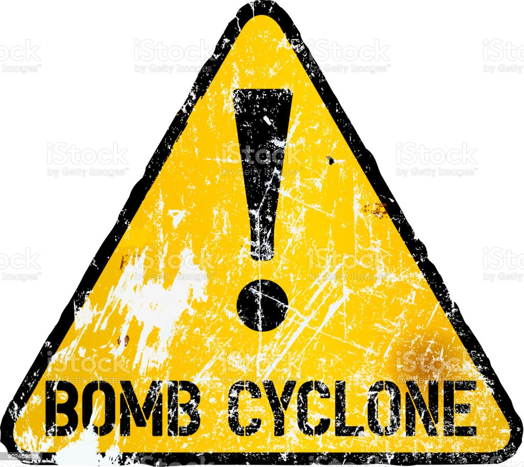 bomb cyclone or blizzard warning sign vector art illustration