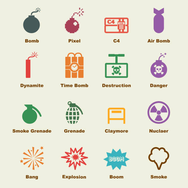bomb elements bomb elements, vector infographic icons explosive fuse stock illustrations