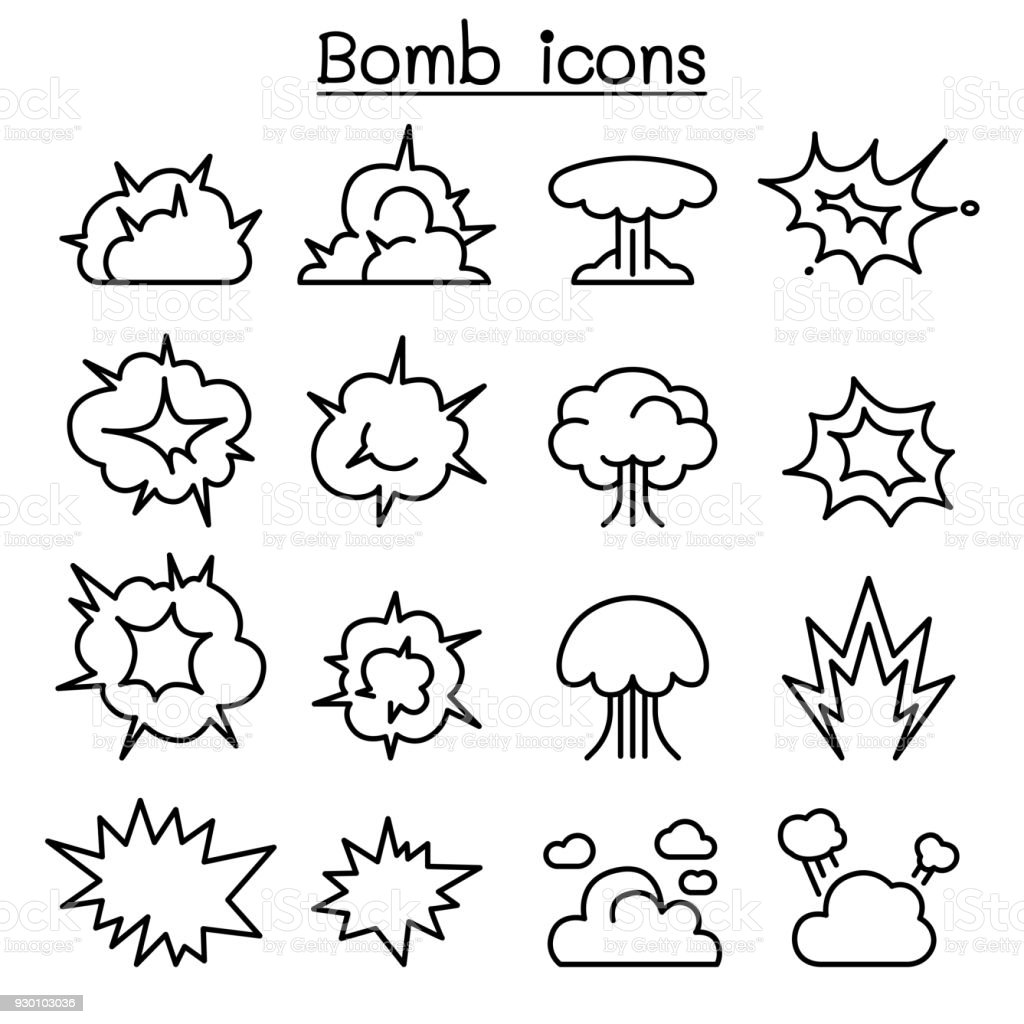 Bomb & Explosion icon set in thin line style vector art illustration