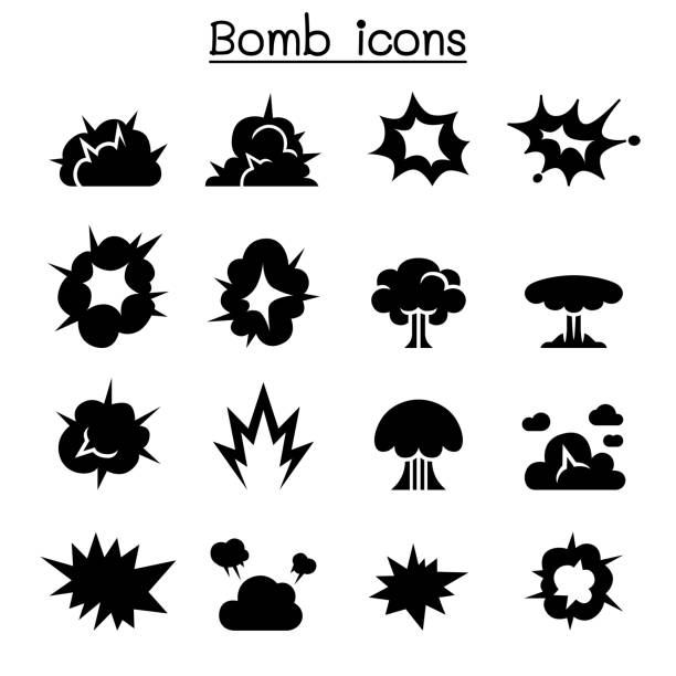 Bomb & Explosion icon set vector illustration graphic design Bomb & Explosion icon set vector illustration graphic design bangs stock illustrations