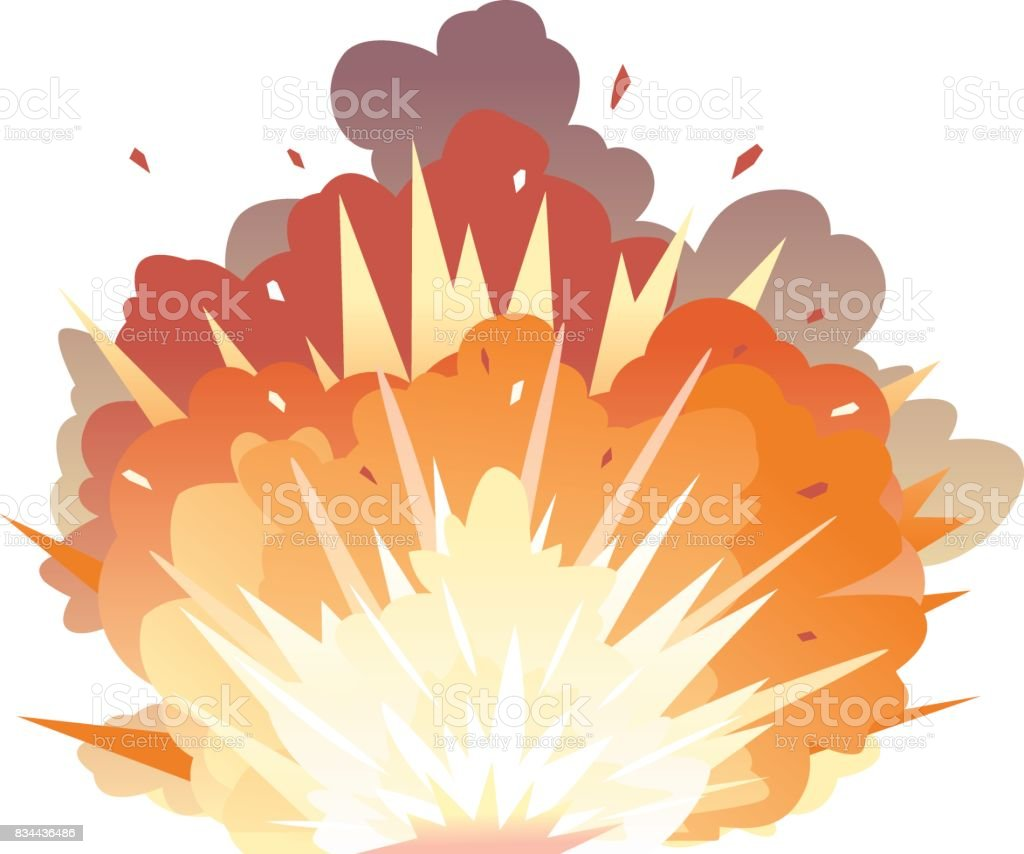 Bomb Explosion on Ground vector art illustration