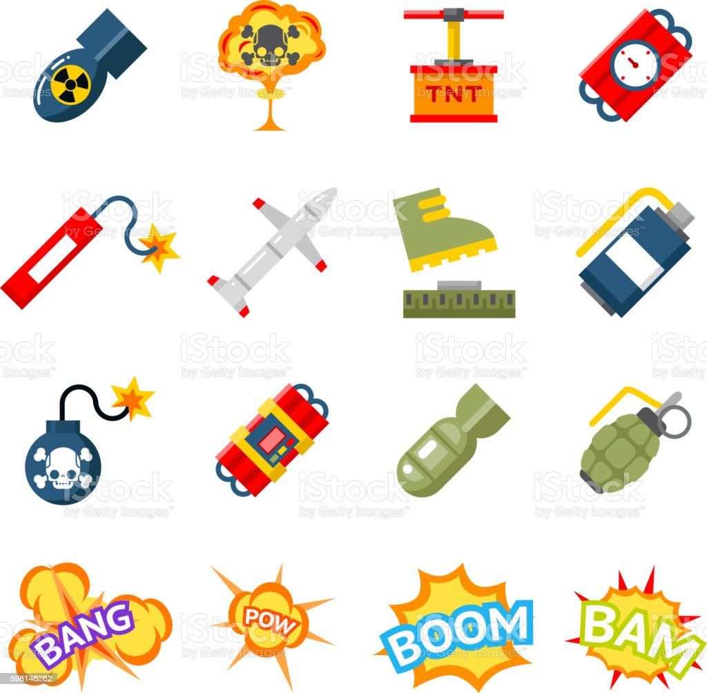 Bomb flat icons. Bombs and explosives pictograms vector art illustration