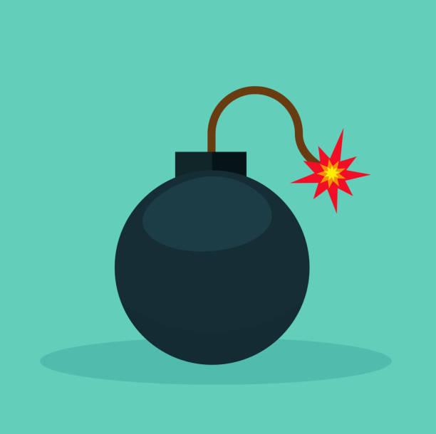 bomb icon on green background Illustration of bomb icon on green background explosive fuse stock illustrations