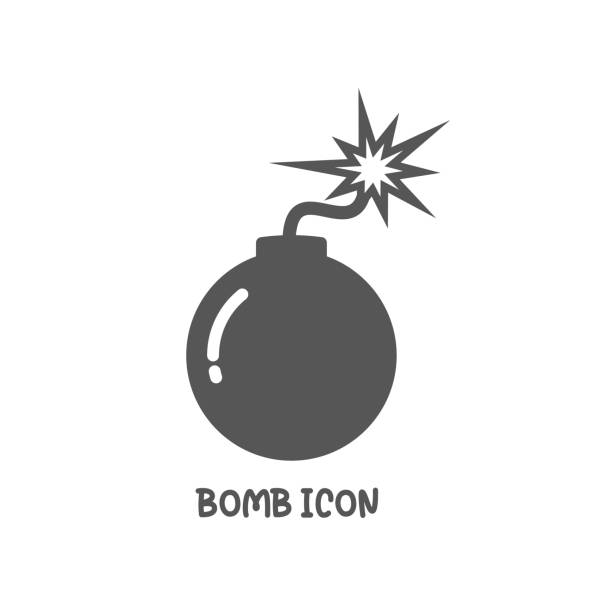 Bomb icon simple flat style vector illustration. Bomb icon simple silhouette flat style vector illustration on white background. explosive fuse stock illustrations