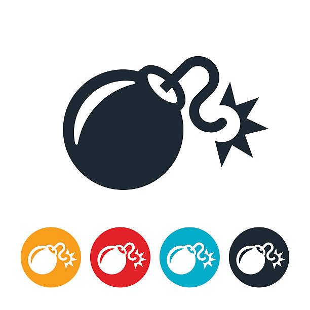 Bomb Icon An icon of a bomb with lit fuse. The bomb represented is a large bomb round in shape. explosive fuse stock illustrations