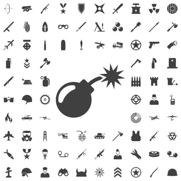 Bomb icon Bomb icon. Set of weapon icons explosive fuse stock illustrations