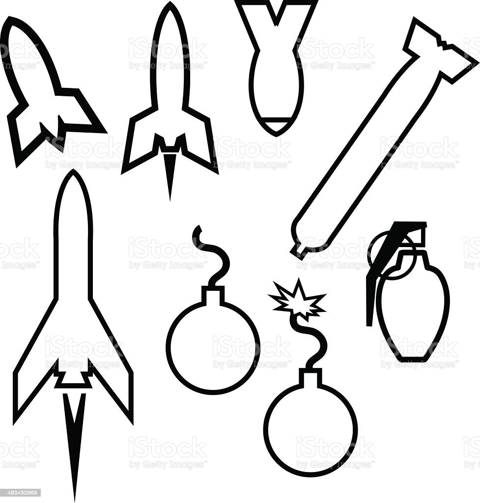 Bomb Icons and Outlines - 1 credit royalty-free bomb icons and outlines 1 credit stock vector art & more images of aggression