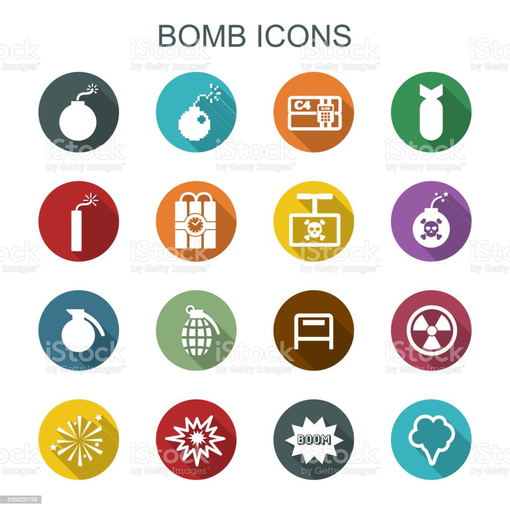 bomb long shadow icons vector art illustration