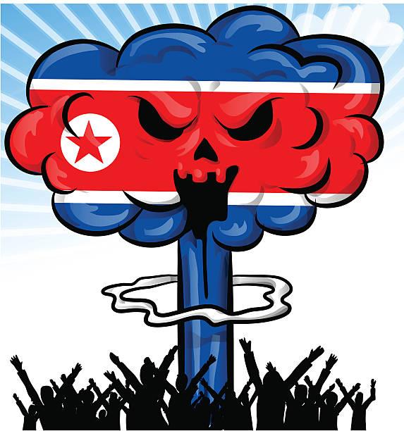 ilustrações, clipart, desenhos animados e ícones de bomba na bandeira da coreia do norte - bandeira da coreia