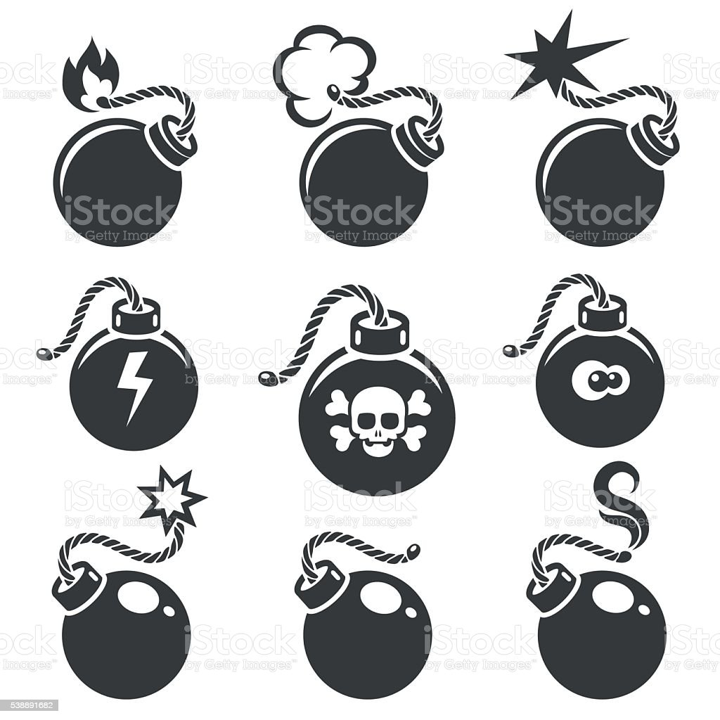 Bomb signs or bomb symbols vector art illustration
