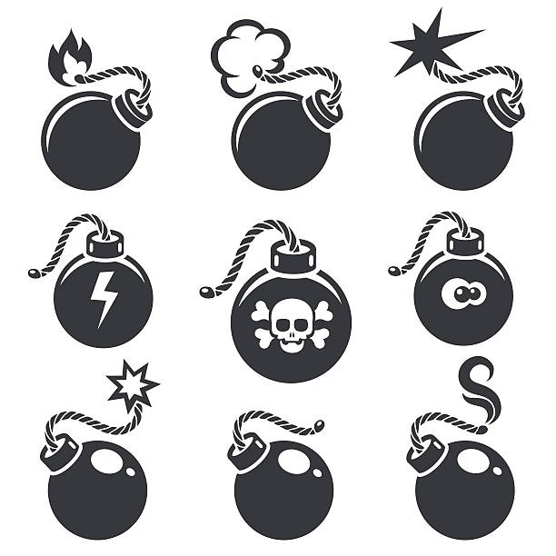 Bomb signs or bomb symbols Bomb signs or bomb symbols. Bomb icon with skull and crossbones. Vector illustration explosive fuse stock illustrations