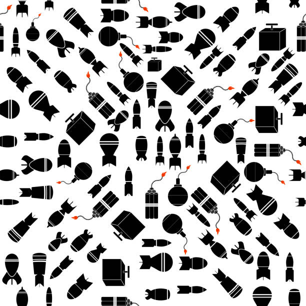 Bomb Silhouettes Seamless Pattern. Military Weapon Background Bomb Silhouettes Seamless Pattern. Military Weapon Background explosive fuse stock illustrations