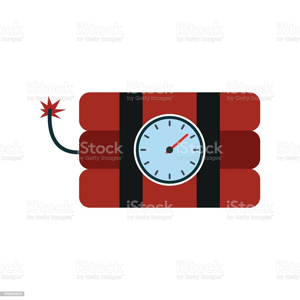 Bomb with clock timer flat icon vector art illustration