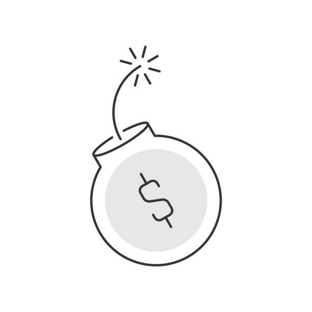 炸彈與貨幣符號線性圖示在白色背景向量藝術插圖