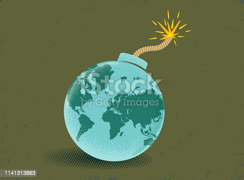 Vector vintage illustration of a bomb with World map. Earth like bomb on vintage backgrounde. Peace.