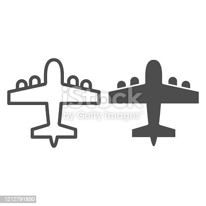 istock Bomber airplane line and solid icon. War aircraft, aerial reconnaissance army plane symbol, outline style pictogram on white background. Warfare sign for mobile concept or web design. Vector graphics. 1212791850