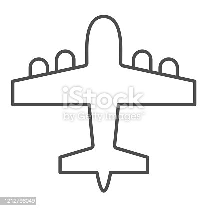istock Bomber airplane thin line icon. War aircraft, aerial reconnaissance army plane symbol, outline style pictogram on white background. Warfare sign for mobile concept or web design. Vector graphics. 1212796049