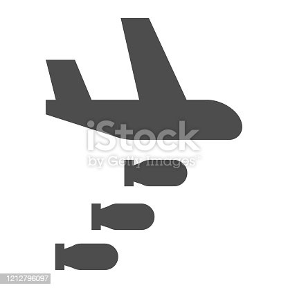 istock Bomber solid icon. Air bombing, war attack and aircraft symbol, glyph style pictogram on white background. Military or warfare sign for mobile concept and web design. Vector graphics. 1212796097