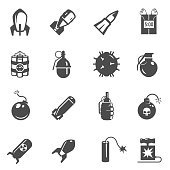Bombs, grenades bold black silhouette icons set isolated on white. Explosive weapon, ammunition pictograms collection. Hand frag, dynamite, common projectile vector elements for infographic, web.