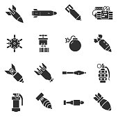 Missiles and warheads. Monochrome icons.