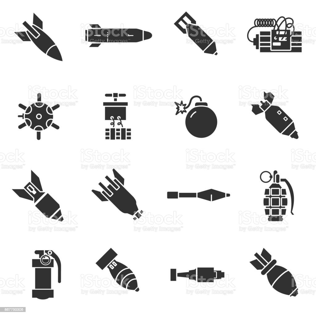 Bombs icons set vector art illustration