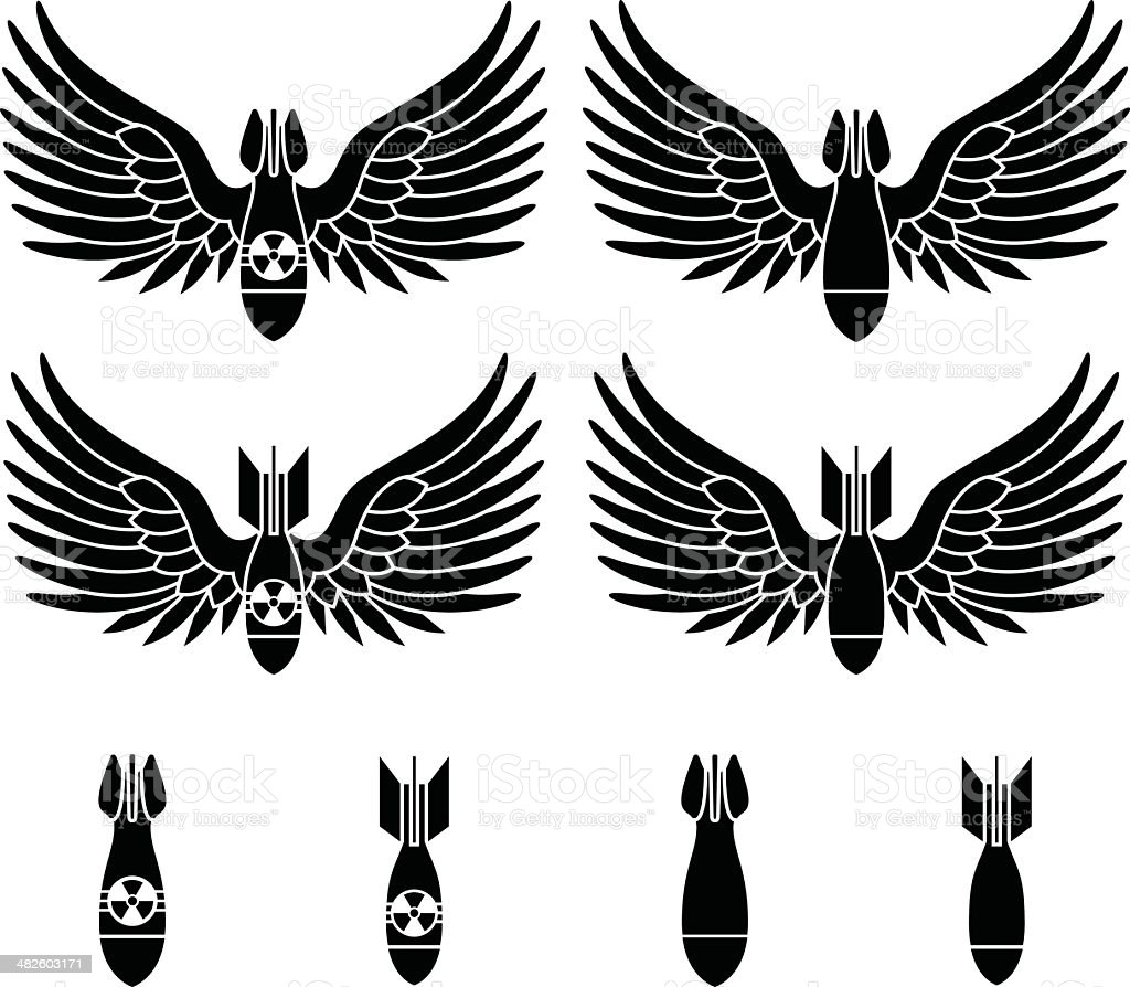 bombs with wings vector art illustration