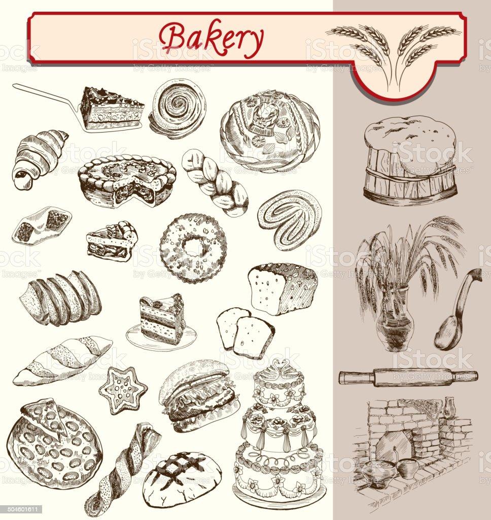 bon appetit bakery vector art illustration