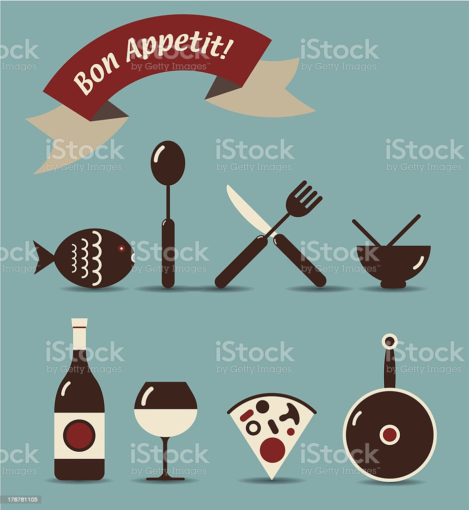 Bon Appetit Icons royalty-free stock vector art