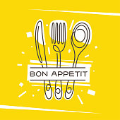 Bon Appetit kitchen monoline style poster. Fork knife spoon stylized creative drawing on fancy yellow background. Cooking related wall art print design decoration. Vector vintage illustration.