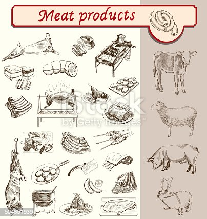 meat and meat products animal breeding sketch vector
