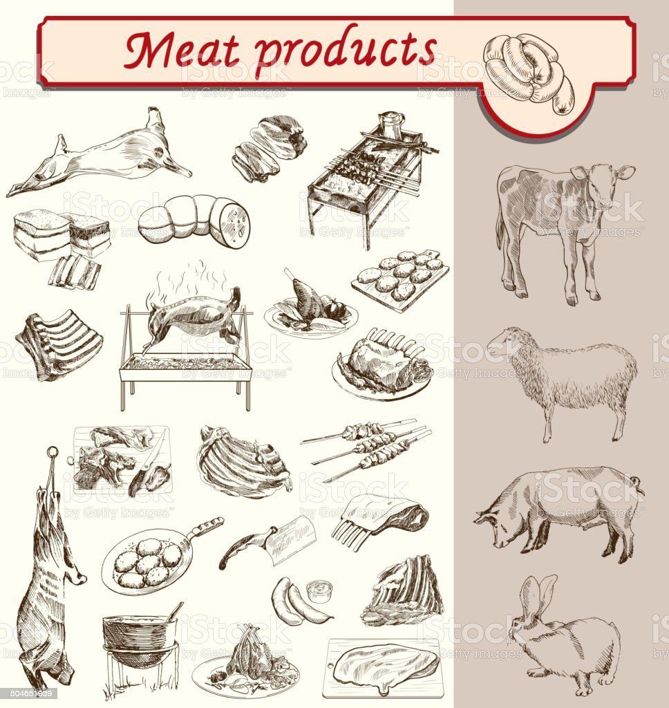 bon appetit meat products vector art illustration