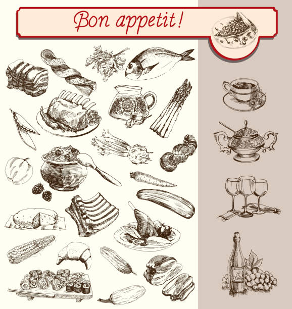 ilustraciones, imágenes clip art, dibujos animados e iconos de stock de bon appetit - comida francesa