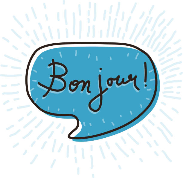 Bon jour Speech Bubble Hand drawn speech bubble with words Bon jour, hello in French french language stock illustrations