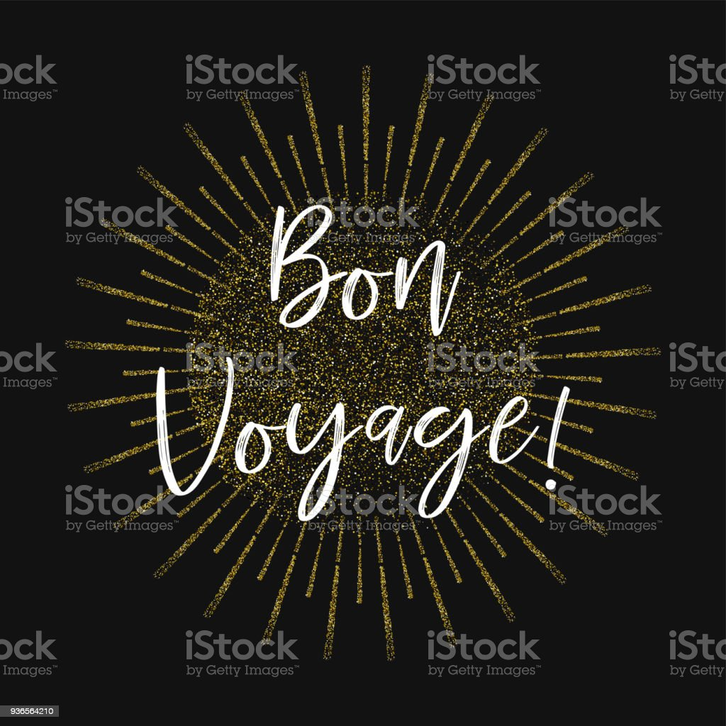 Bon Voyage!  Fond de paillettes d'or - Illustration vectorielle