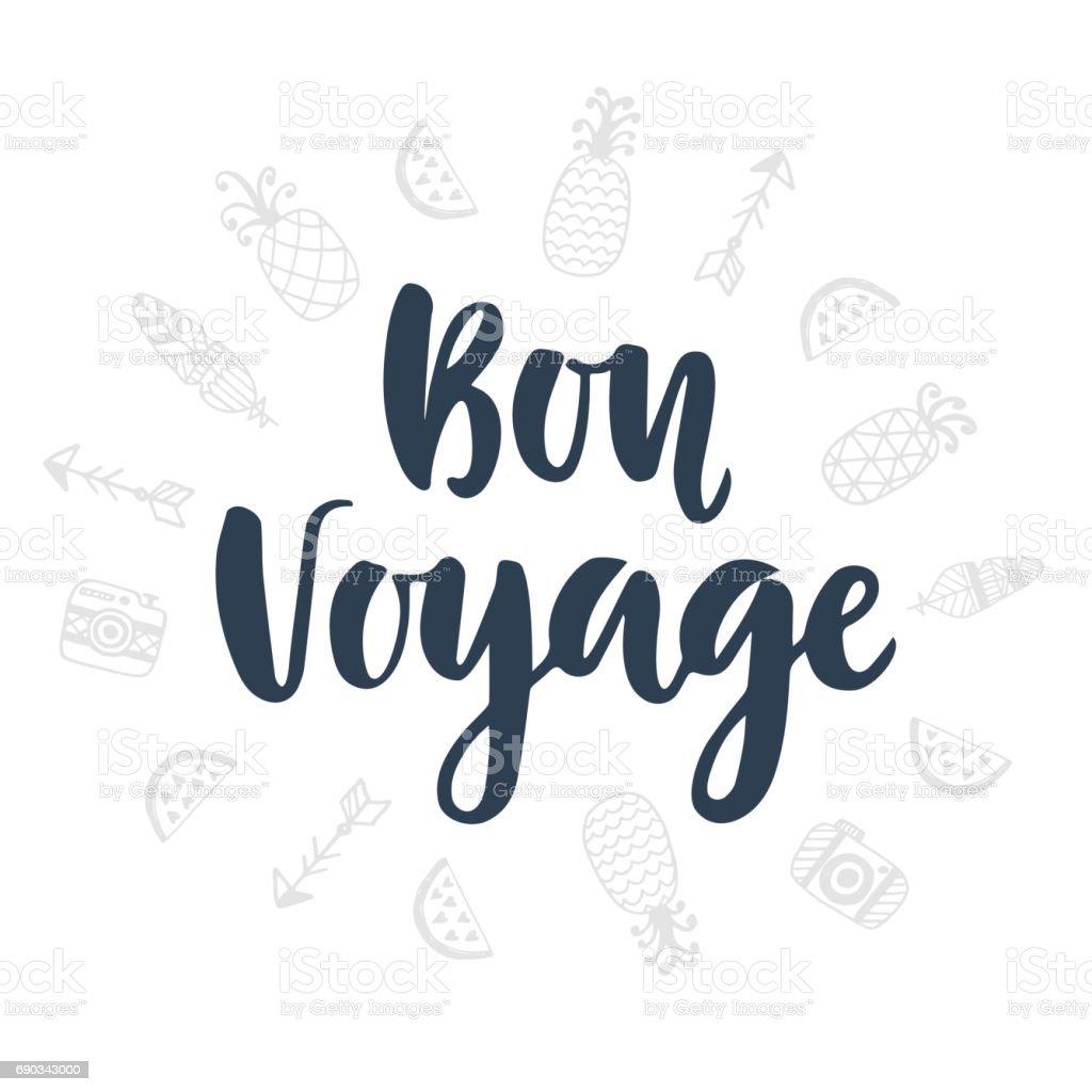 Bon Voyage. Lettrage et mignon doodles icônes manuscrite - Illustration vectorielle